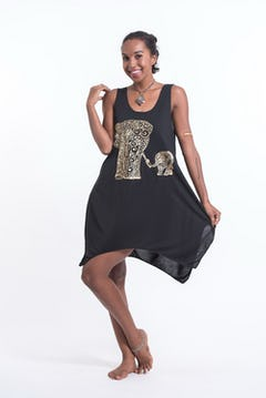 Super Soft Cotton Feather Ohm Tank Dress Gold on Black