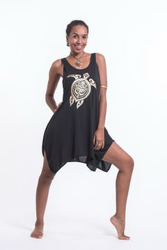 Womens Owls Tank Dress in Gold on Black