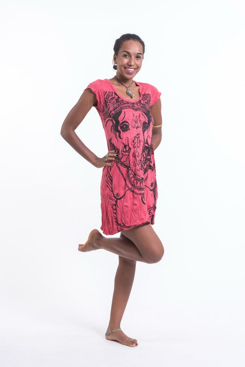Womens Big Face Ganesh Dress in Red
