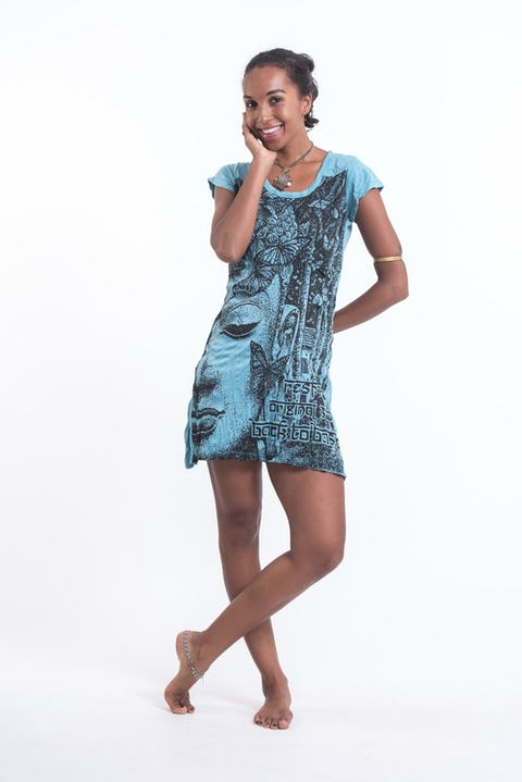 Womens Butterfly Buddha Dress in Turquoise