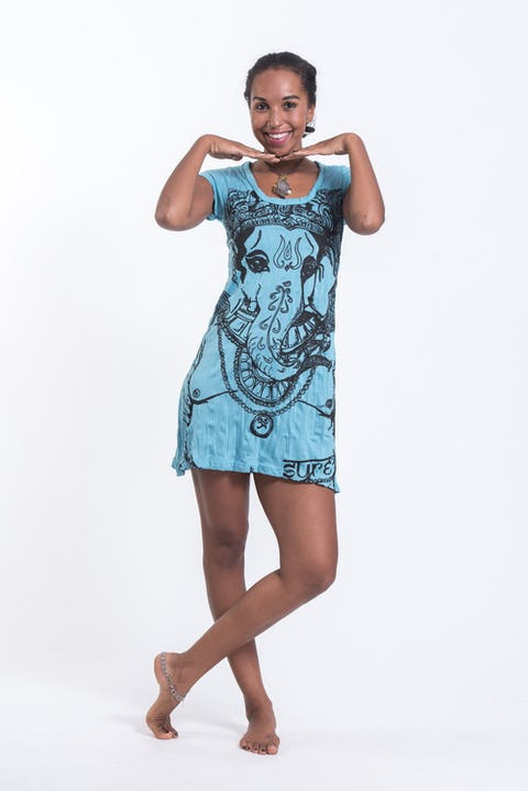 Womens Big Face Ganesh Dress in Turquoise