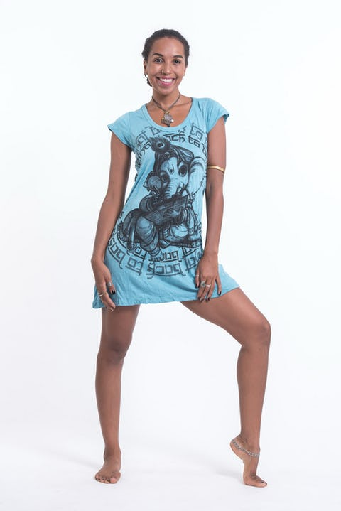 Sure Design Womens Baby Ganesh Dress Turquoise