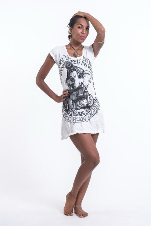 Womens Baby Ganesh Dress in White