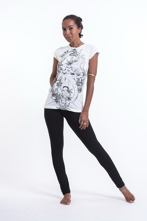 Sure Design Womens Octopus Weed T-Shirt White