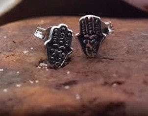 Sterling Silver Thai  Stud Earrings Hamsa Hand