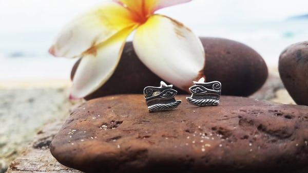 Sterling Silver Thai  Stud Earrings Third Eye