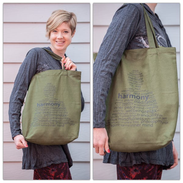 NEW Recycled Cotton Canvass Shopping Tote Bag Harmony Green