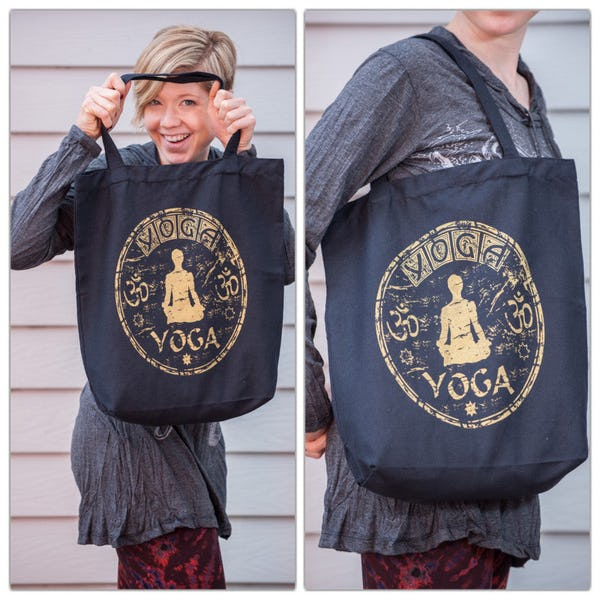 NEW Recycled Cotton Canvass Shopping Tote Bag Yoga Black