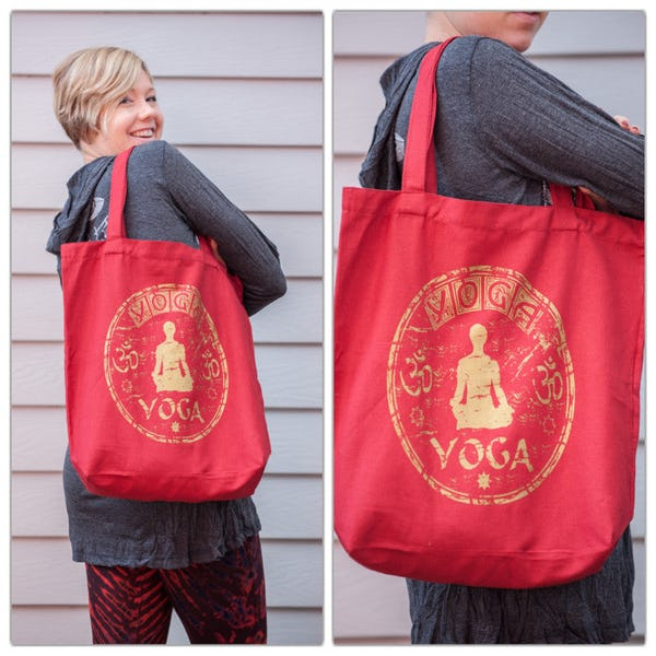 NEW Recycled Cotton Canvass Shopping Tote Bag Yoga Red