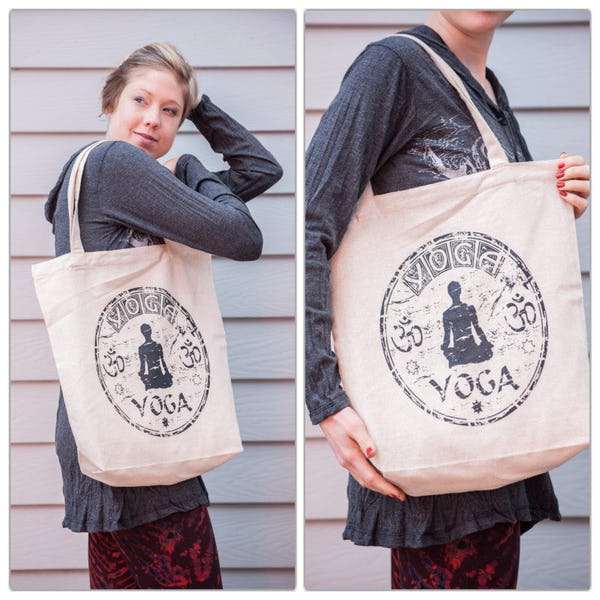 Yoga Cotton Tote Bag in Natural
