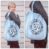 NEW Recycled Cotton Canvass Shopping Tote Bag Om Light Blue