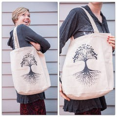 NEW Recycled Cotton Canvass Shopping Tote Bag Tree Of Life Black
