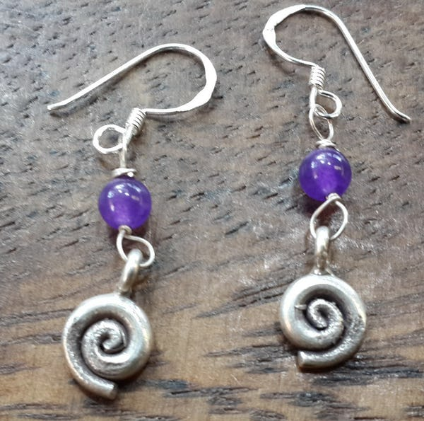 Thai Hill Tribe Sterling Silver Earrings Swirl Amethyst