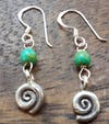 Thai Hill Tribe Sterling Silver Earrings Swirl Jade