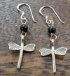Thai Hill Tribe Sterling Silver Earrings Dragonfly Onyx