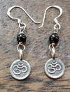 Thai Hill Tribe Sterling Silver Earrings Om Onyx