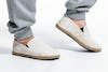 Off White Cotton Slip On Shoes