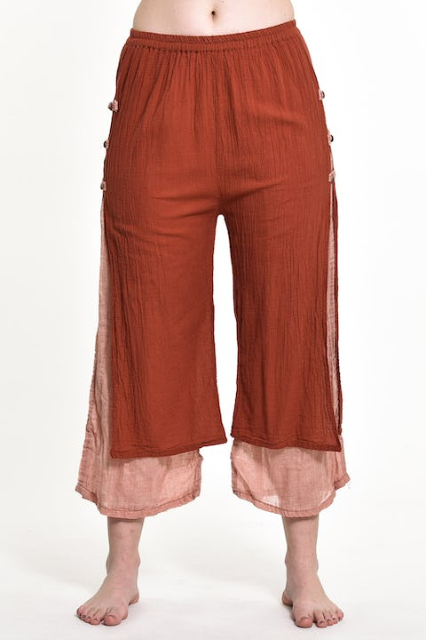 Women's Cotton Double Layers Cropped Pants in Solid Brick