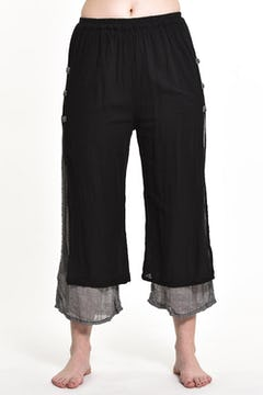 Drawstring Patchwork Pinstripes Cotton Pants
