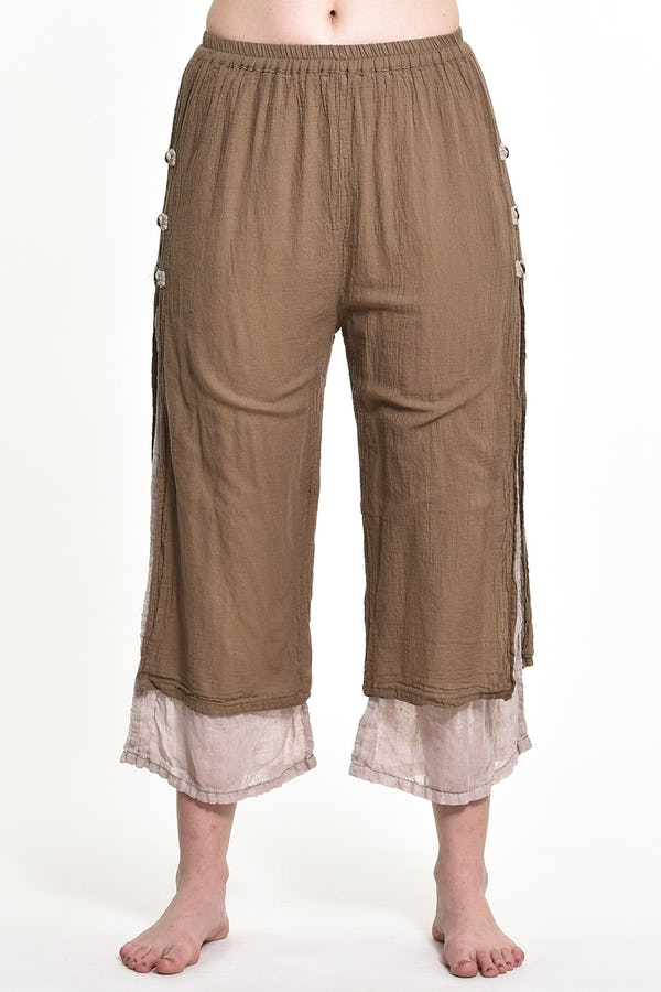 Women's Cotton Double Layers Cropped Pants in Solid Tan