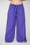 Thailand Super Soft Organic Cotton Double Tiered Pants Drawstring Elastic Purple