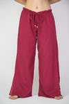 Thailand Super Soft Organic Cotton Double Tiered Pants Drawstring Elastic Red