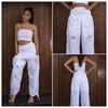 Thailand Super Soft Organic Cotton Half Lines Pants Drawstring Elastic White