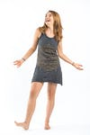 Sure Design Womens Lotus Mandala Tank Dress Gold on Black