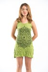 Sure Design Womens Lotus Mandala Tank Dress Lime