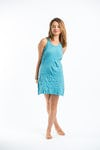 Sure Design Womens Solid Tank Dress Turquoise
