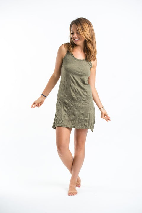 Sure Design Womens Solid Tank Dress Green