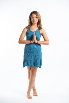 Womens Solid Color Tank Dress in Turquoise