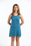 Sure Design Womens Solid Tank Dress Denim Blue