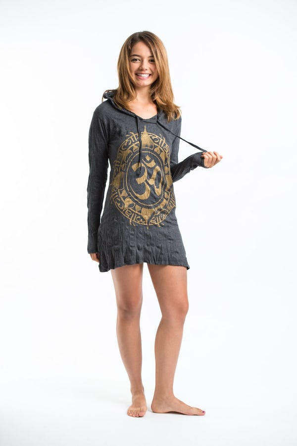Womens Infinitee Om Hoodie Dress in Gold on Black