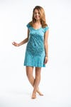 Sure Design Womens Lotus Mandala Dress Turquoise