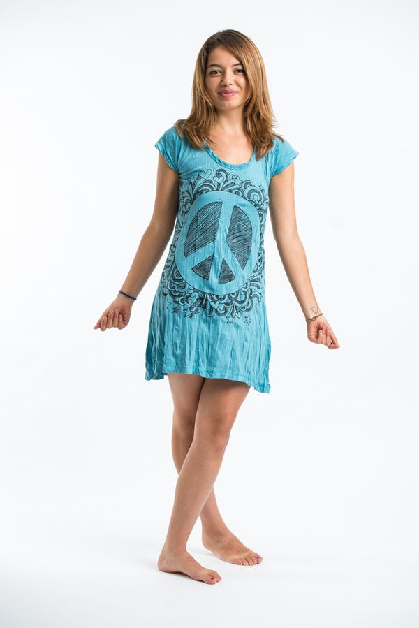 Sure Design Womens Peace Sign Dress Turquoise