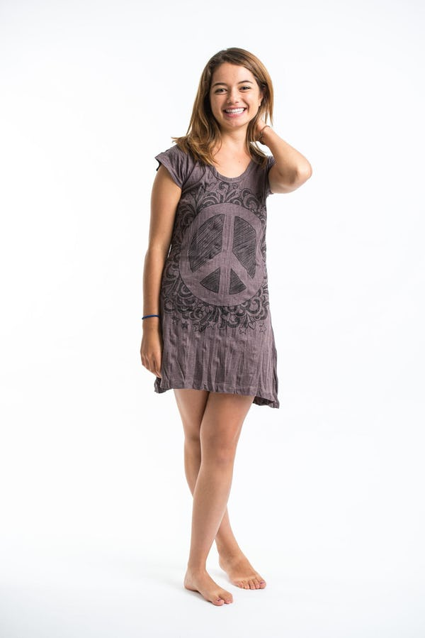 Sure Design Womens Peace Sign Dress Brown