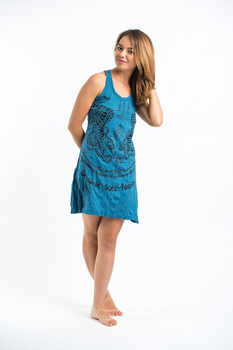 Sure Design Womens Thai Tattoo Tank Dress Denim Blue