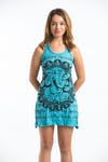 Sure Design Womens Ganesh Mandala Tank Dress Turquoise