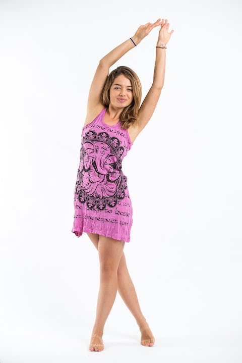 Sure Design Womens Ganesh Mandala Tank Dress Pink