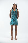 Sure Design Womens Butterfly Buddha Tank Dress Turquoise