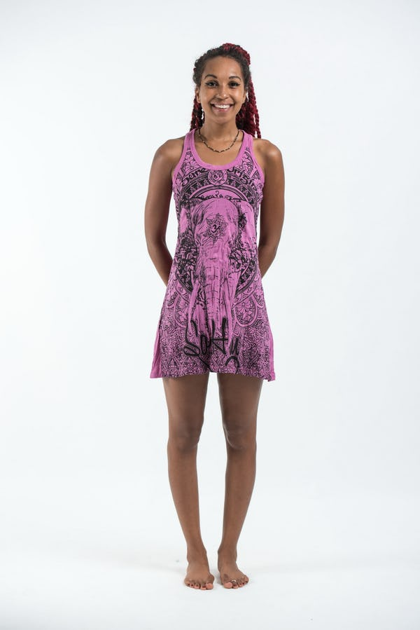 Sure Design Womens Wild Elephant Tank Dress Pink