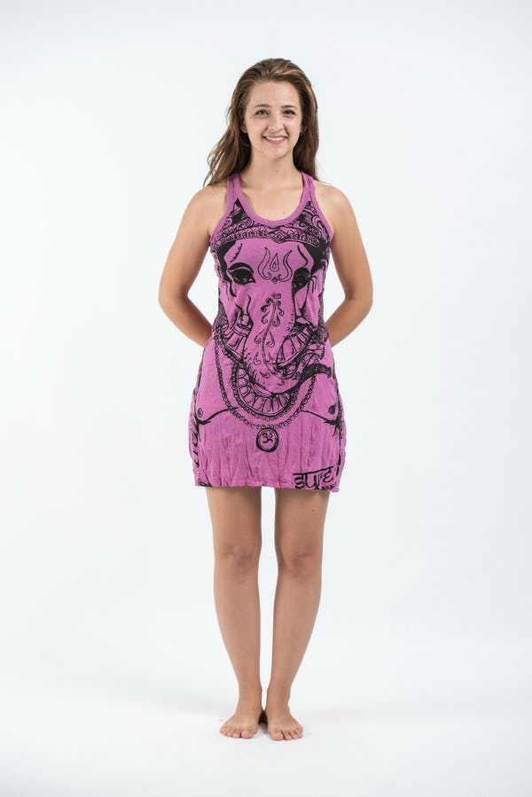 Sure Design Womens Big Face Ganesh Tank Dress Pink