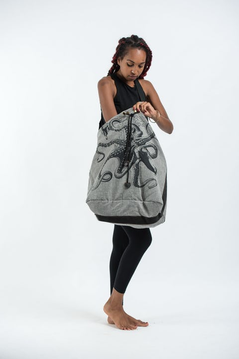 Octopus Denim Drawstring Tote Bag