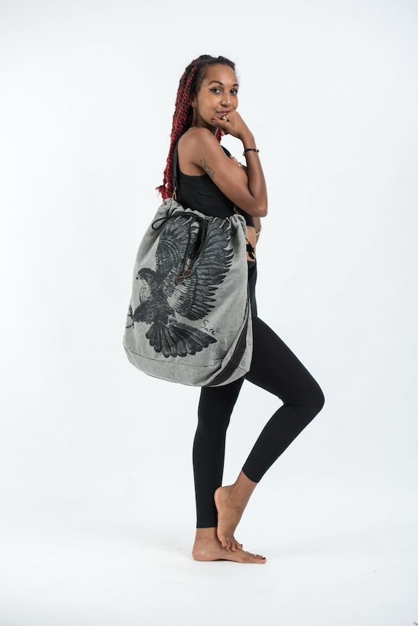 Eagle Denim Drawstring Tote Bag