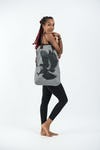 Eagle Oversize Zippered Shoulder Bag in Denim Gray