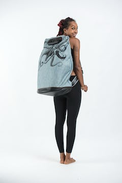 Tree of Life Denim Drawstring Tote Bag