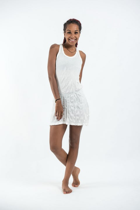 Womens Solid Color Tank Dress in White