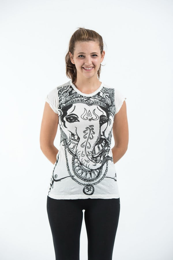 Sure Design Womens Big Face Ganesh T-Shirt White