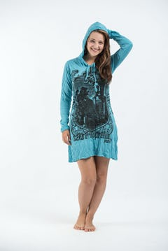Womens Chakra Fractal Hoodie Dress in Turquoise
